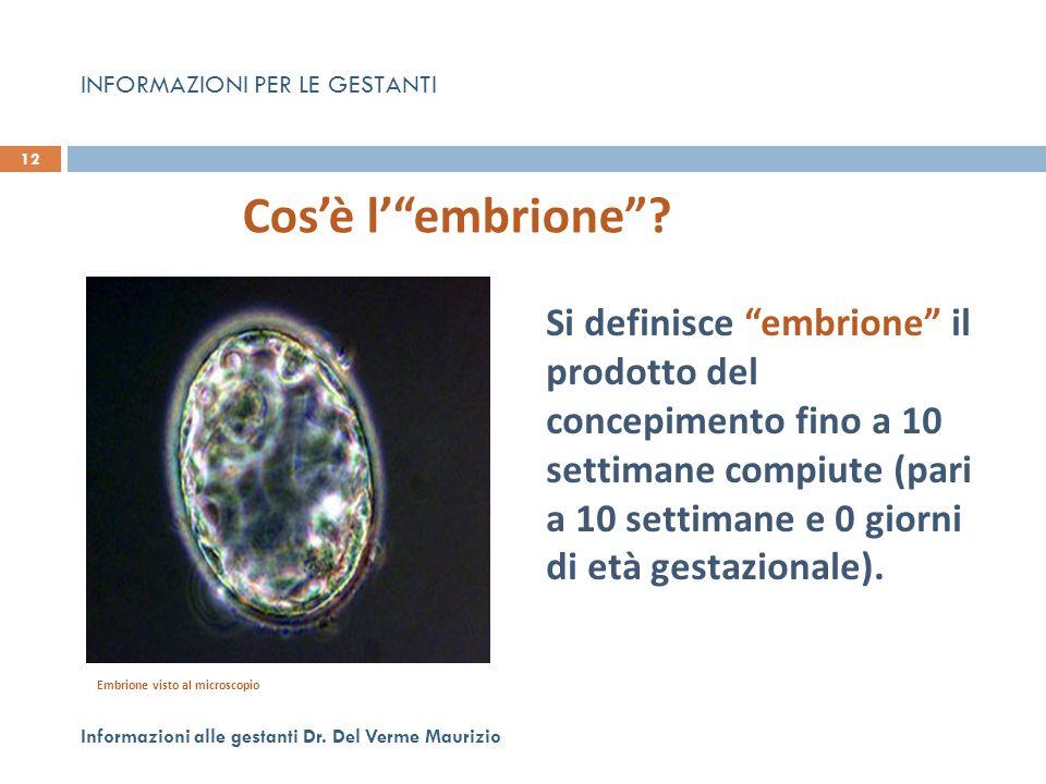 """Si definisce """"embrione"""" il prodotto del concepimento fino a 10 settimane compiute (pari a 10 settimane e 0 giorni di età gestazionale). 12 Informazion"""