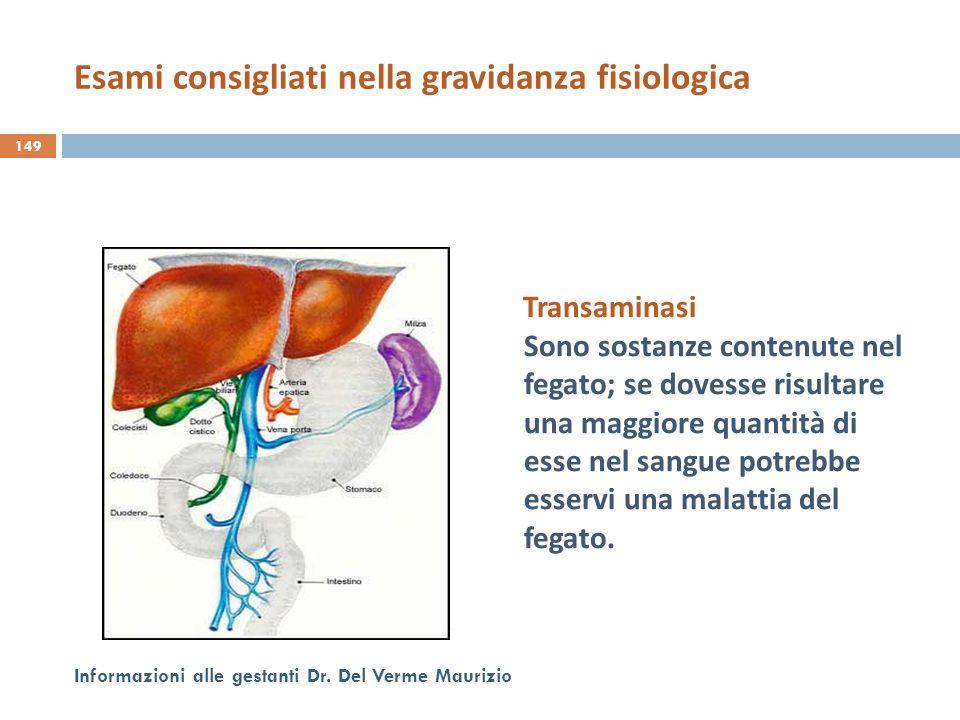 Transaminasi Sono sostanze contenute nel fegato; se dovesse risultare una maggiore quantità di esse nel sangue potrebbe esservi una malattia del fegat