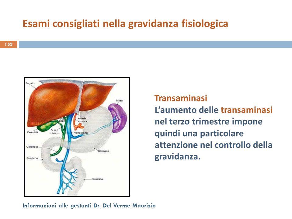 Transaminasi L'aumento delle transaminasi nel terzo trimestre impone quindi una particolare attenzione nel controllo della gravidanza. 153 Informazion
