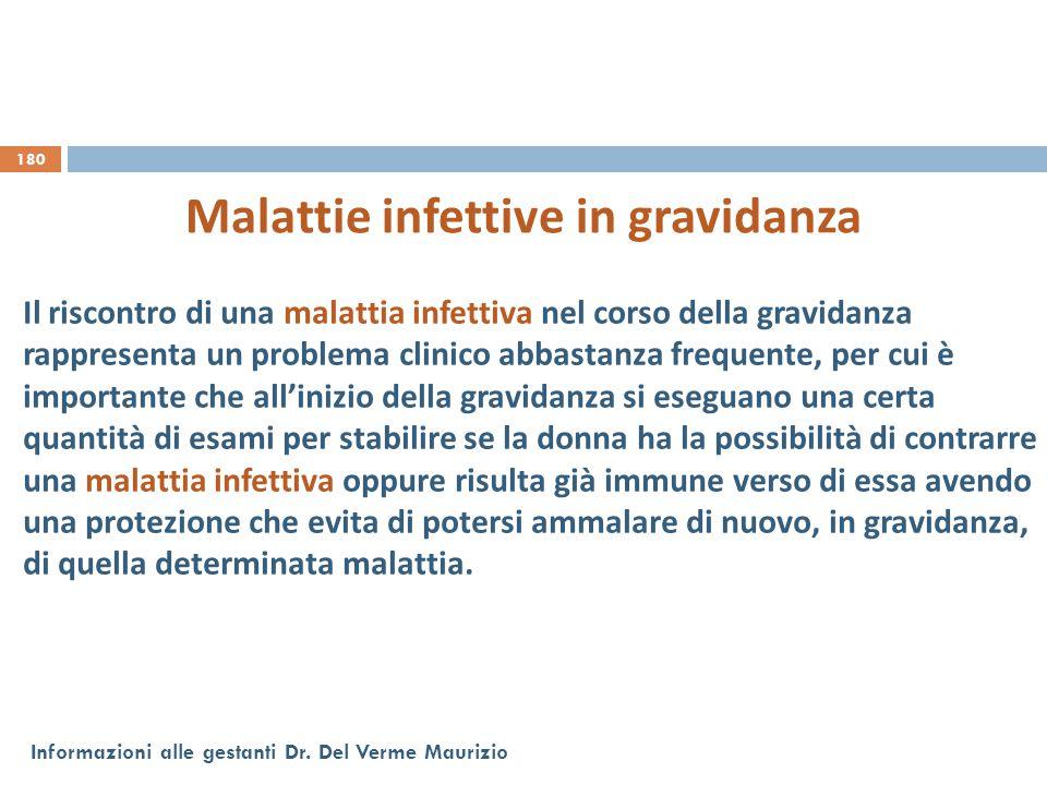 180 Informazioni alle gestanti Dr. Del Verme Maurizio Malattie infettive in gravidanza Il riscontro di una malattia infettiva nel corso della gravidan
