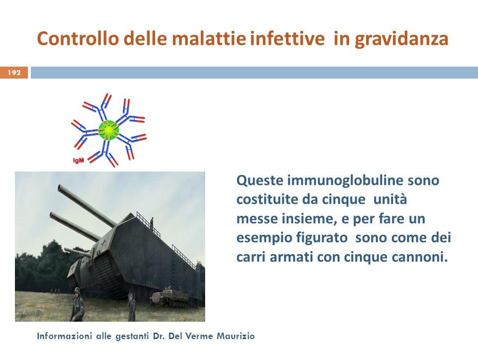 192 Informazioni alle gestanti Dr. Del Verme Maurizio Queste immunoglobuline sono costituite da cinque unità messe insieme, e per fare un esempio figu