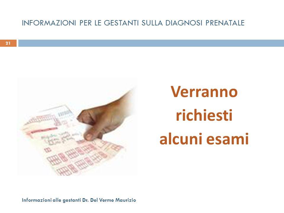 INFORMAZIONI PER LE GESTANTI SULLA DIAGNOSI PRENATALE Verranno richiesti alcuni esami 21 Informazioni alle gestanti Dr. Del Verme Maurizio