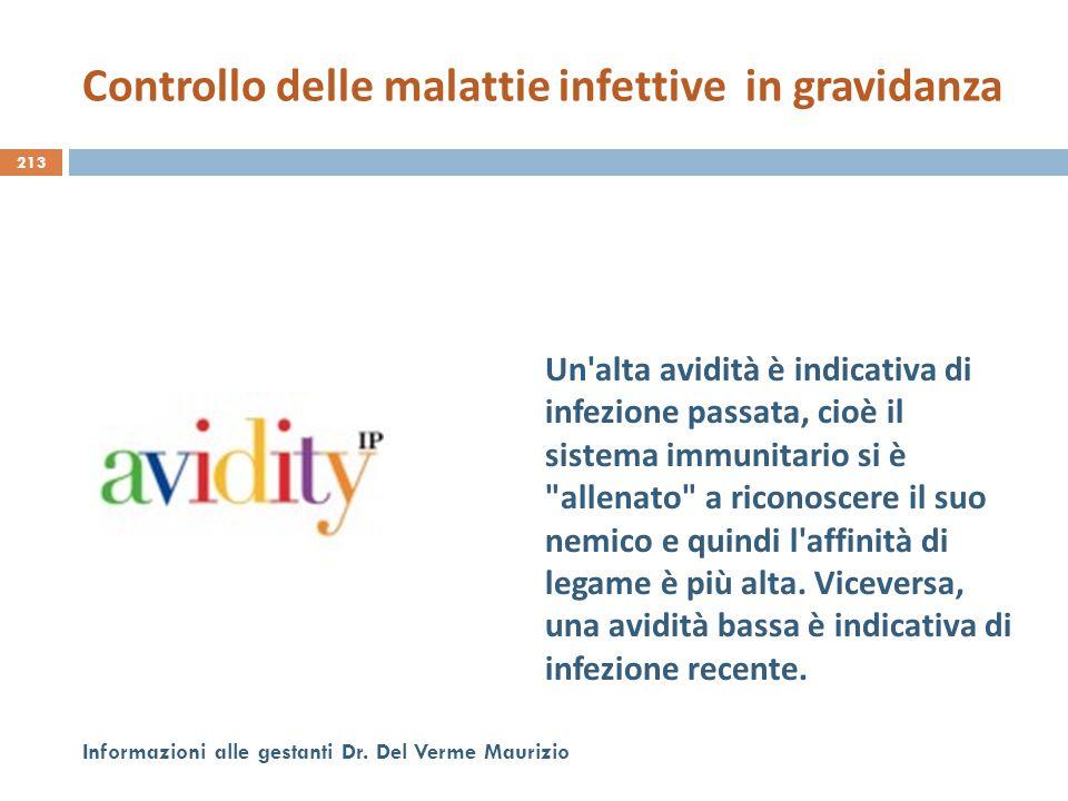 213 Informazioni alle gestanti Dr. Del Verme Maurizio Un'alta avidità è indicativa di infezione passata, cioè il sistema immunitario si è