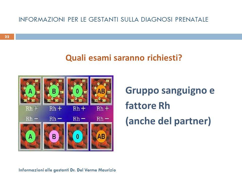 INFORMAZIONI PER LE GESTANTI SULLA DIAGNOSI PRENATALE Gruppo sanguigno e fattore Rh (anche del partner) 22 Informazioni alle gestanti Dr. Del Verme Ma