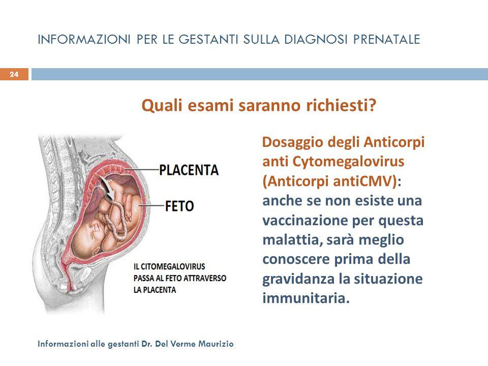 INFORMAZIONI PER LE GESTANTI SULLA DIAGNOSI PRENATALE Dosaggio degli Anticorpi anti Cytomegalovirus (Anticorpi antiCMV): anche se non esiste una vacci