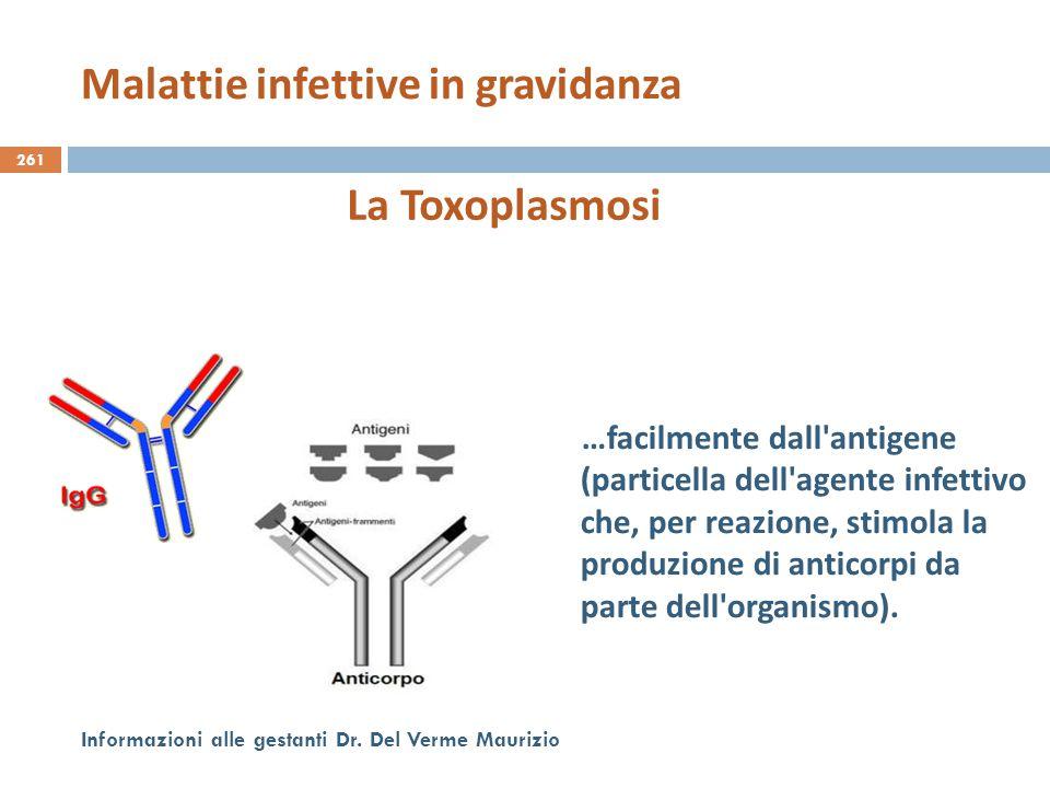 261 Informazioni alle gestanti Dr. Del Verme Maurizio La Toxoplasmosi …facilmente dall'antigene (particella dell'agente infettivo che, per reazione, s