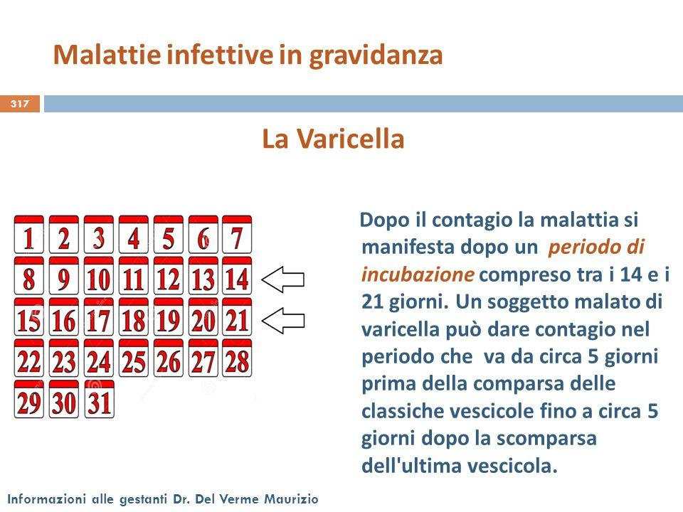 317 Informazioni alle gestanti Dr. Del Verme Maurizio La Varicella Dopo il contagio la malattia si manifesta dopo un periodo di incubazione compreso t