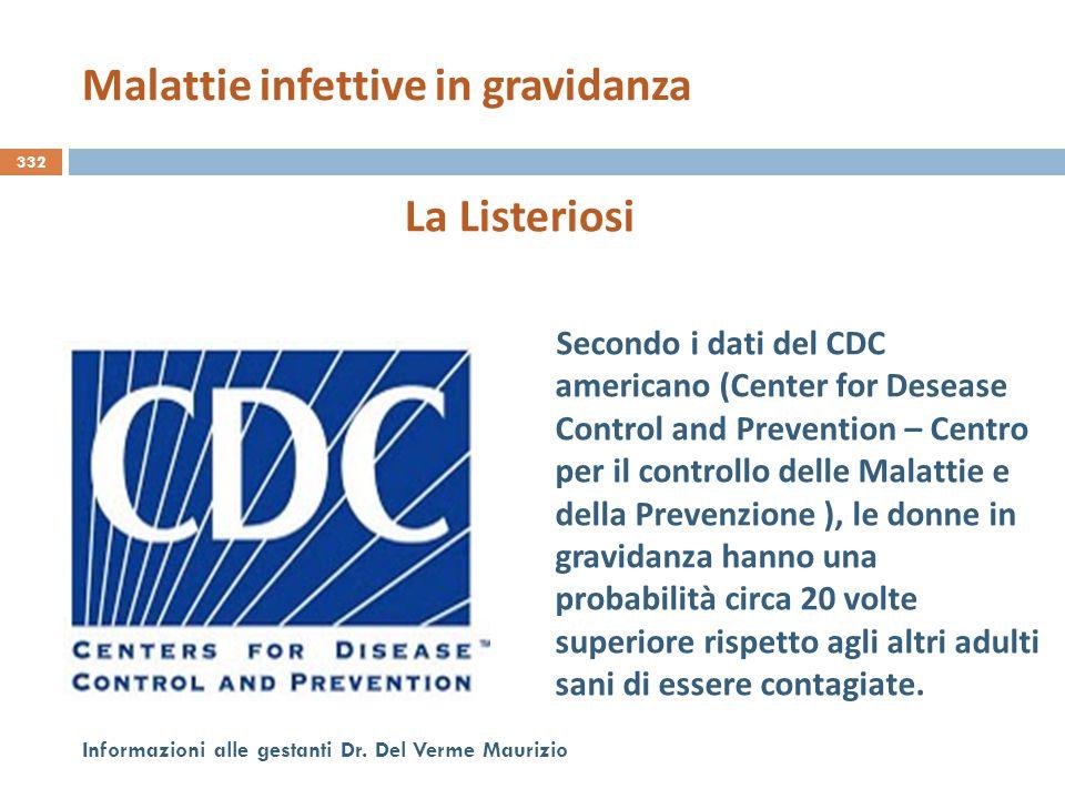 332 Informazioni alle gestanti Dr. Del Verme Maurizio La Listeriosi Secondo i dati del CDC americano (Center for Desease Control and Prevention – Cent