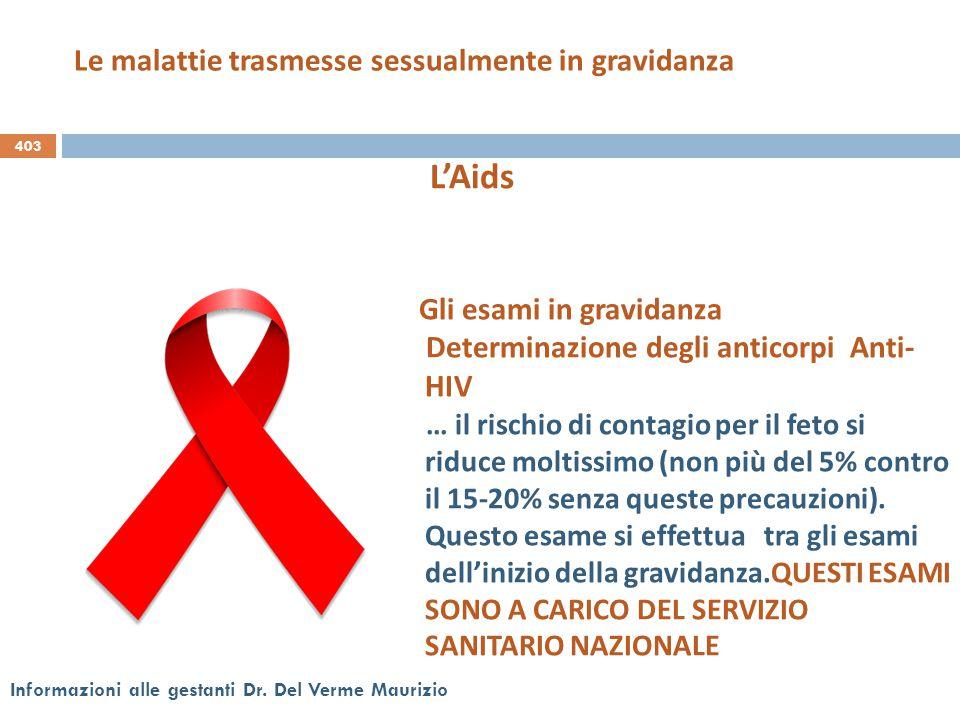 403 Informazioni alle gestanti Dr. Del Verme Maurizio Gli esami in gravidanza Determinazione degli anticorpi Anti- HIV … il rischio di contagio per il