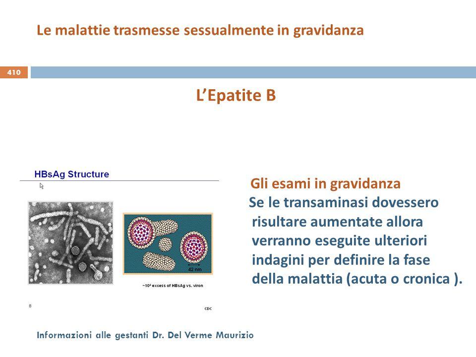 410 Informazioni alle gestanti Dr. Del Verme Maurizio L'Epatite B Gli esami in gravidanza Se le transaminasi dovessero risultare aumentate allora verr