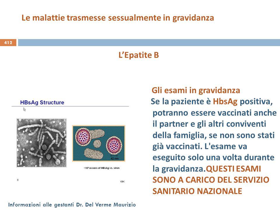 412 Informazioni alle gestanti Dr. Del Verme Maurizio L'Epatite B Gli esami in gravidanza Se la paziente è HbsAg positiva, potranno essere vaccinati a