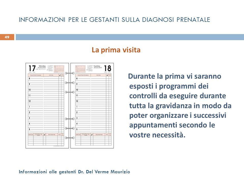 Durante la prima vi saranno esposti i programmi dei controlli da eseguire durante tutta la gravidanza in modo da poter organizzare i successivi appunt
