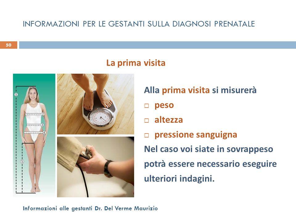 Alla prima visita si misurerà  peso  altezza  pressione sanguigna Nel caso voi siate in sovrappeso potrà essere necessario eseguire ulteriori indag