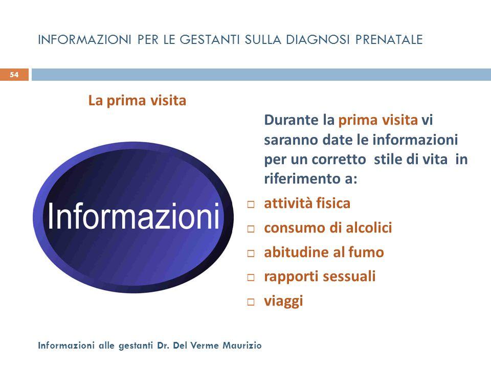 Durante la prima visita vi saranno date le informazioni per un corretto stile di vita in riferimento a:  attività fisica  consumo di alcolici  abit
