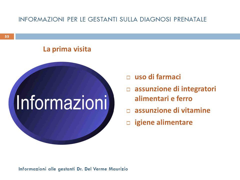  uso di farmaci  assunzione di integratori alimentari e ferro  assunzione di vitamine  igiene alimentare 55 Informazioni alle gestanti Dr. Del Ver