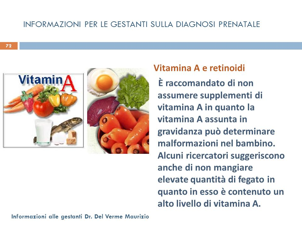 Vitamina A e retinoidi È raccomandato di non assumere supplementi di vitamina A in quanto la vitamina A assunta in gravidanza può determinare malforma