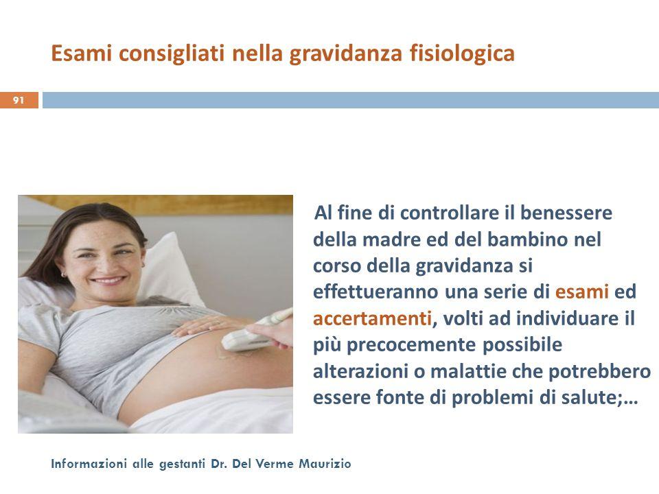 Al fine di controllare il benessere della madre ed del bambino nel corso della gravidanza si effettueranno una serie di esami ed accertamenti, volti a