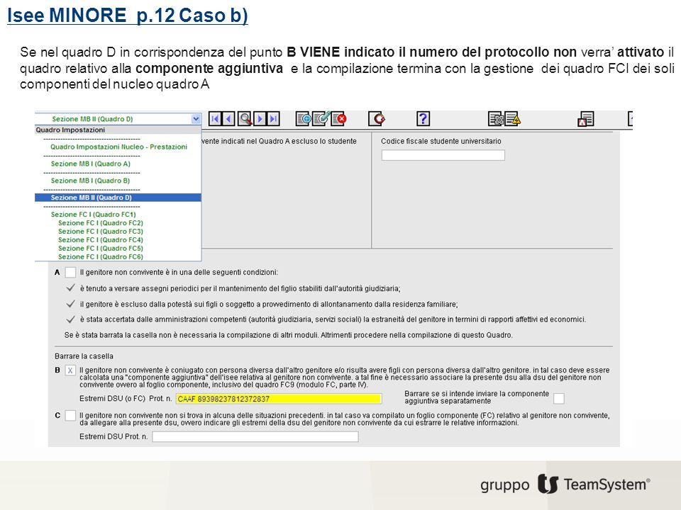 Isee MINORE p.12 Caso b) Se nel quadro D in corrispondenza del punto B VIENE indicato il numero del protocollo non verra' attivato il quadro relativo