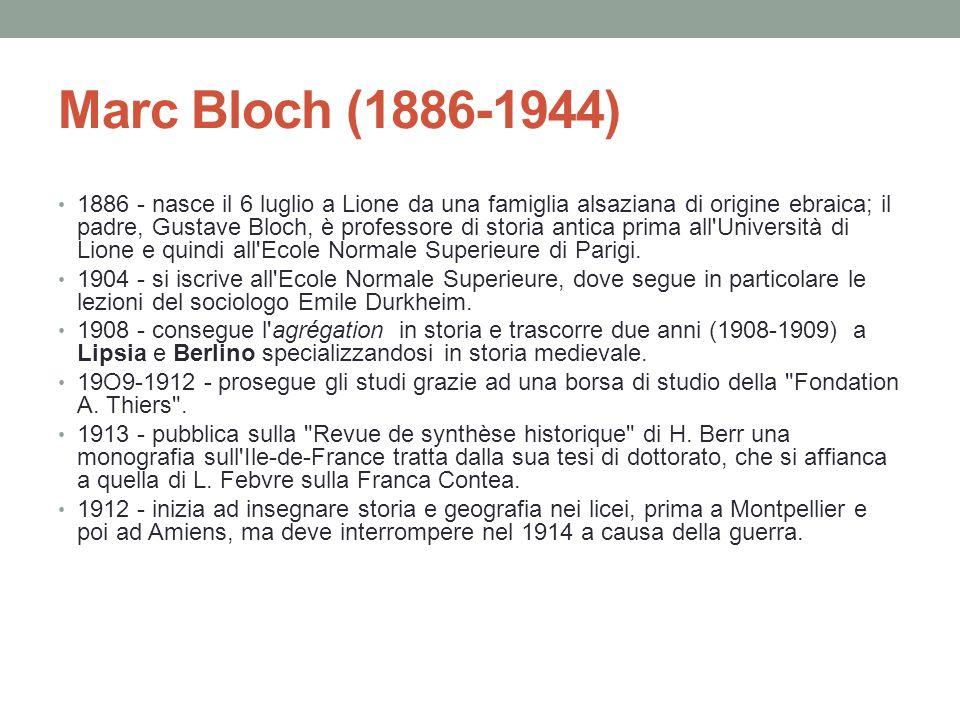 Marc Bloch (1886-1944) 1886 - nasce il 6 luglio a Lione da una famiglia alsaziana di origine ebraica; il padre, Gustave Bloch, è professore di storia