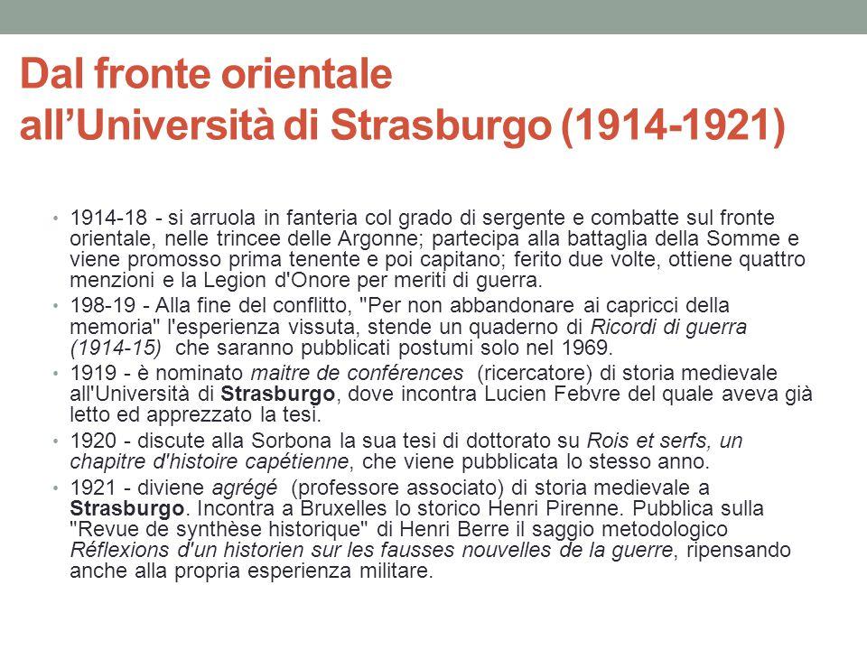 Dal fronte orientale all'Università di Strasburgo (1914-1921) 1914-18 - si arruola in fanteria col grado di sergente e combatte sul fronte orientale,