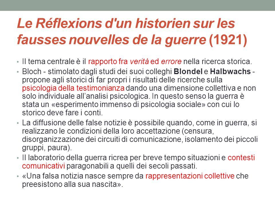 Le Réflexions d'un historien sur les fausses nouvelles de la guerre (1921) Il tema centrale è il rapporto fra verità ed errore nella ricerca storica.
