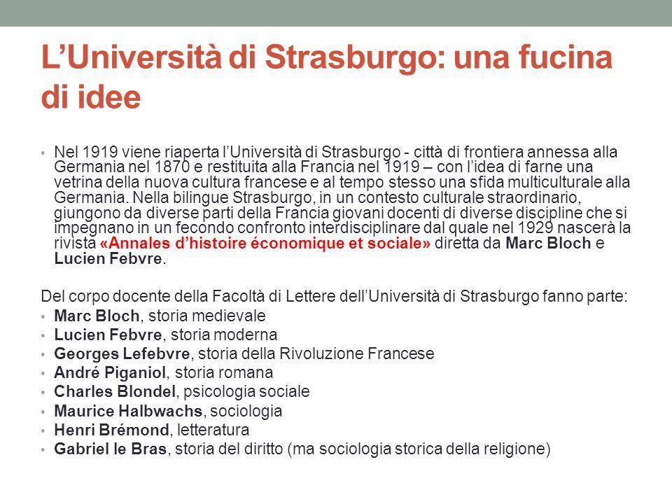 L'Università di Strasburgo: una fucina di idee Nel 1919 viene riaperta l'Università di Strasburgo - città di frontiera annessa alla Germania nel 1870