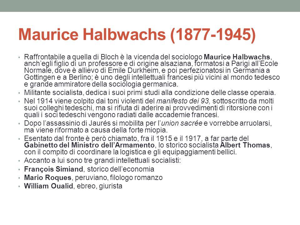 Halbwachs e Bloch a Strasburgo Nel 1919 Marc Bloch e Maurice Halbwachs si incontrano all'Università di Strasburgo e iniziano un dialogo scientifico fecondo, riflettendo anche sulle rispettive esperienze di guerra.