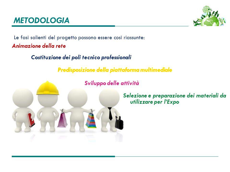 METODOLOGIA Le fasi salienti del progetto possono essere così riassunte: Costituzione dei poli tecnico professionali Sviluppo delle attività Selezione