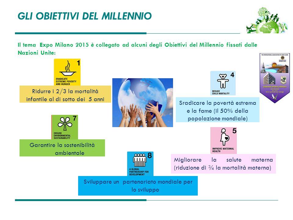 GLI OBIETTIVI DEL MILLENNIO Il tema Expo Milano 2015 è collegato ad alcuni degli Obiettivi del Millennio fissati dalle Nazioni Unite: Sradicare la pov