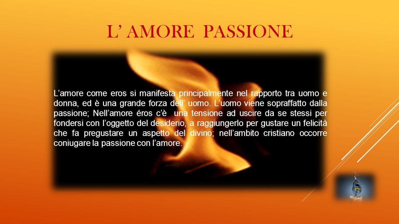 L' AMORE PASSIONE L'amore come eros si manifesta principalmente nel rapporto tra uomo e donna, ed è una grande forza dell' uomo. L'uomo viene sopraffa