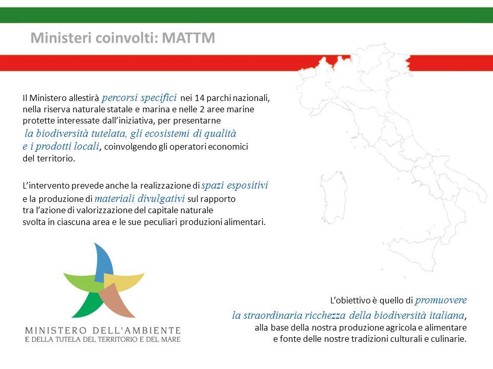 Ministeri coinvolti: MATTM Il Ministero allestirà percorsi specifici nei 14 parchi nazionali, nella riserva naturale statale e marina e nelle 2 aree marine protette interessate dall'iniziativa, per presentarne la biodiversità tutelata, gli ecosistemi di qualità e i prodotti locali, coinvolgendo gli operatori economici del territorio.