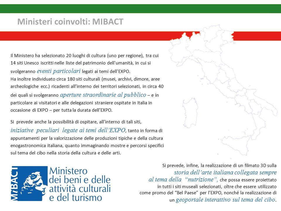 Ministeri coinvolti: MIBACT Si prevede, infine, la realizzazione di un filmato 3D sulla storia dell'arte italiana collegata sempre al tema della nutrizione , che possa essere proiettato in tutti i siti museali selezionati, oltre che essere utilizzato come promo del Bel Paese per l'EXPO, nonché la realizzazione di un geoportale interattivo sul tema del cibo.