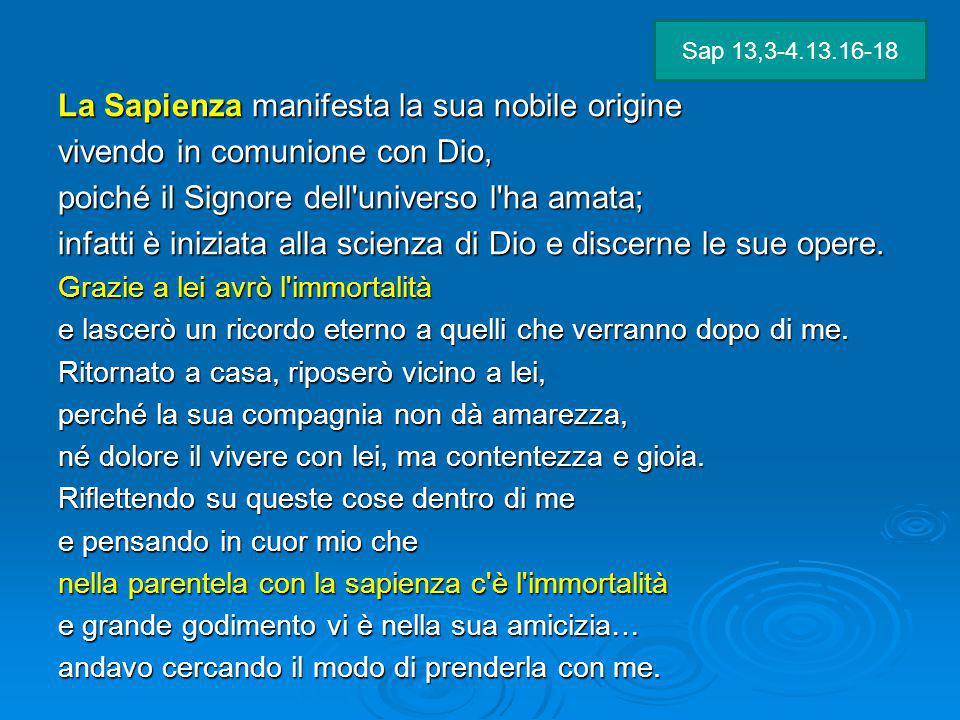 La Sapienza manifesta la sua nobile origine vivendo in comunione con Dio, poiché il Signore dell'universo l'ha amata; infatti è iniziata alla scienza
