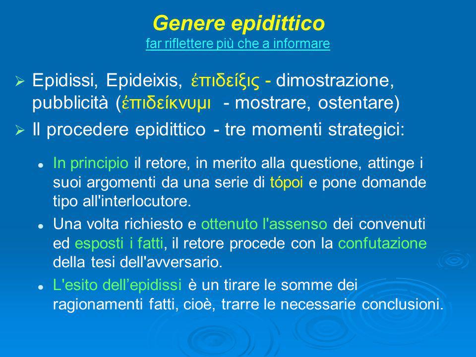 Genere epidittico far riflettere più che a informare   Epidissi, Epideixis, ἐ πιδείξις - dimostrazione, pubblicità ( ἐ πιδείκνυμι - mostrare, ostent