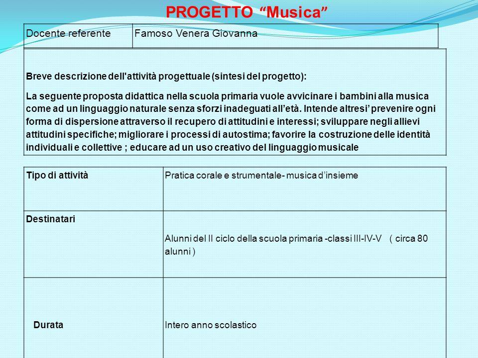 Docente referenteFamoso Venera Giovanna Breve descrizione dell'attività progettuale (sintesi del progetto): La seguente proposta didattica nella scuol