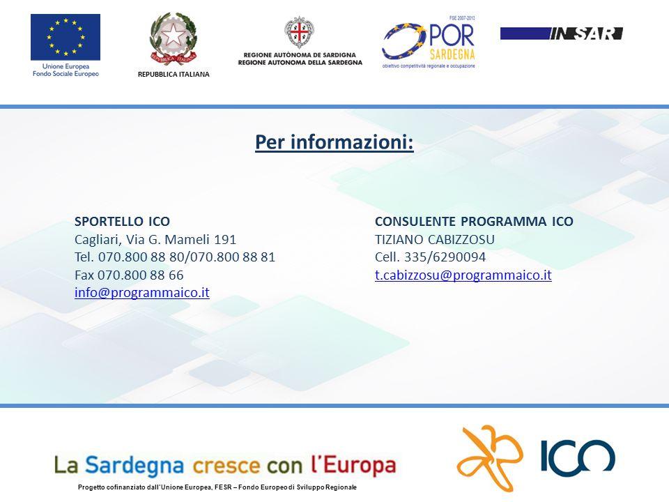 REPUBBLICA ITALIANA Progetto cofinanziato dall'Unione Europea, FESR – Fondo Europeo di Sviluppo Regionale Per informazioni: SPORTELLO ICO Cagliari, Via G.