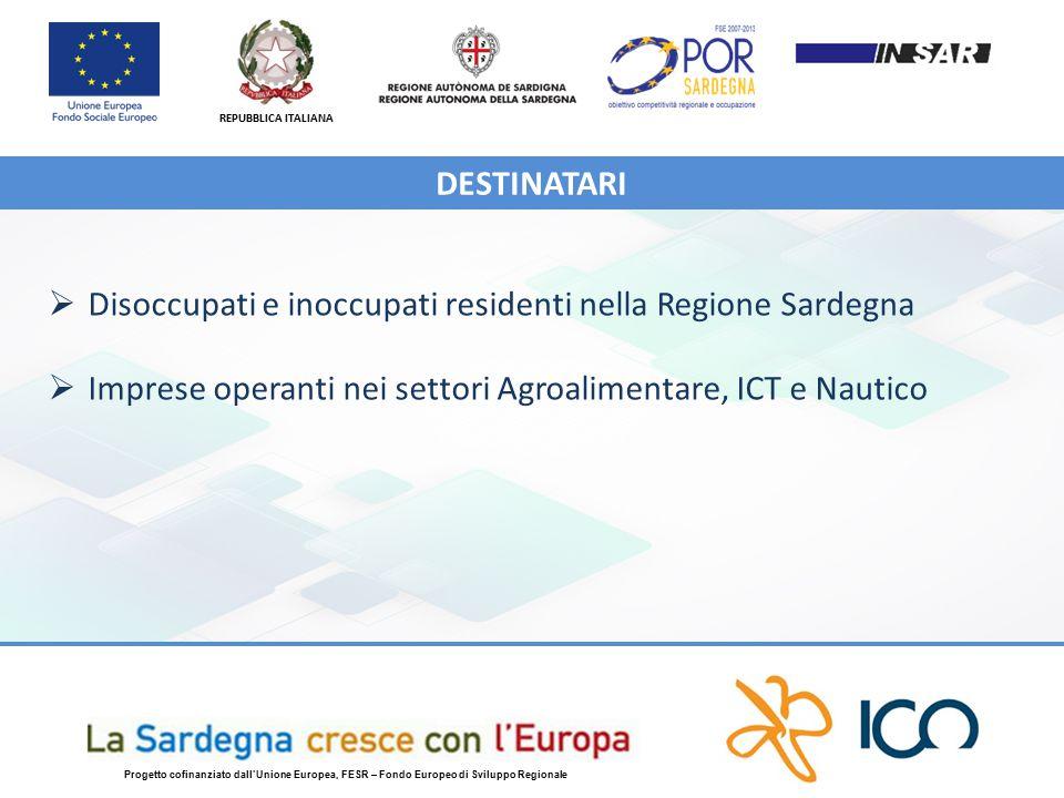 REPUBBLICA ITALIANA Progetto cofinanziato dall'Unione Europea, FESR – Fondo Europeo di Sviluppo Regionale  Disoccupati e inoccupati residenti nella Regione Sardegna  Imprese operanti nei settori Agroalimentare, ICT e Nautico DESTINATARI