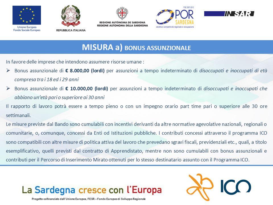 REPUBBLICA ITALIANA Progetto cofinanziato dall'Unione Europea, FESR – Fondo Europeo di Sviluppo Regionale In favore delle imprese che intendono assumere risorse umane :  Bonus assunzionale di € 8.000,00 (lordi) per assunzioni a tempo indeterminato di disoccupati e inoccupati di età compresa tra i 18 ed i 29 anni  Bonus assunzionale di € 10.000,00 (lordi) per assunzioni a tempo indeterminato di disoccupati e inoccupati che abbiano un'età pari o superiore ai 30 anni Il rapporto di lavoro potrà essere a tempo pieno o con un impegno orario part time pari o superiore alle 30 ore settimanali.
