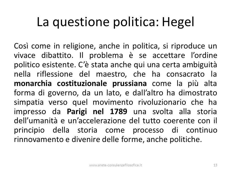 La questione politica: Hegel Così come in religione, anche in politica, si riproduce un vivace dibattito. Il problema è se accettare l'ordine politico