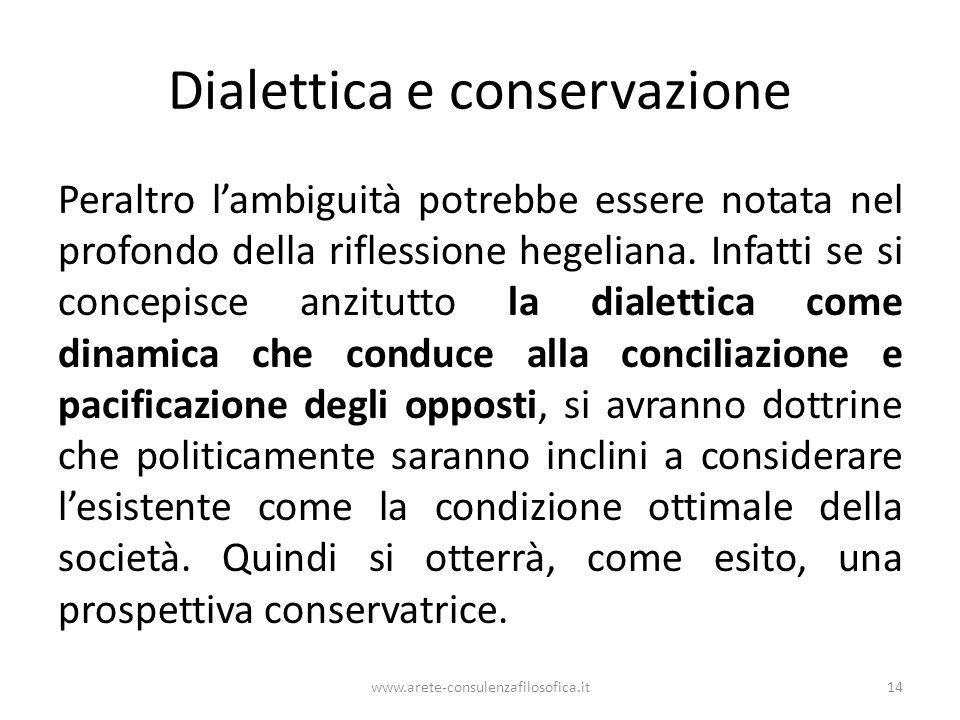 Dialettica e conservazione Peraltro l'ambiguità potrebbe essere notata nel profondo della riflessione hegeliana. Infatti se si concepisce anzitutto la