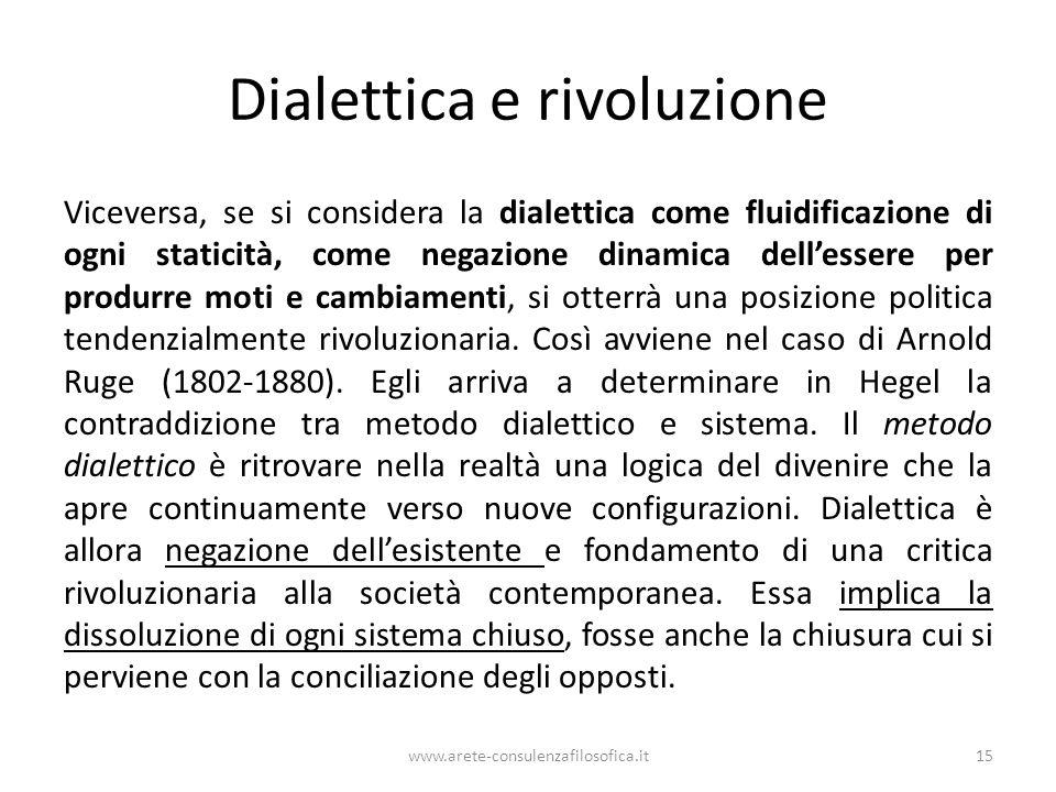 Dialettica e rivoluzione Viceversa, se si considera la dialettica come fluidificazione di ogni staticità, come negazione dinamica dell'essere per prod
