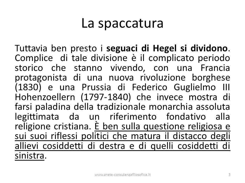 La spaccatura Tuttavia ben presto i seguaci di Hegel si dividono. Complice di tale divisione è il complicato periodo storico che stanno vivendo, con u