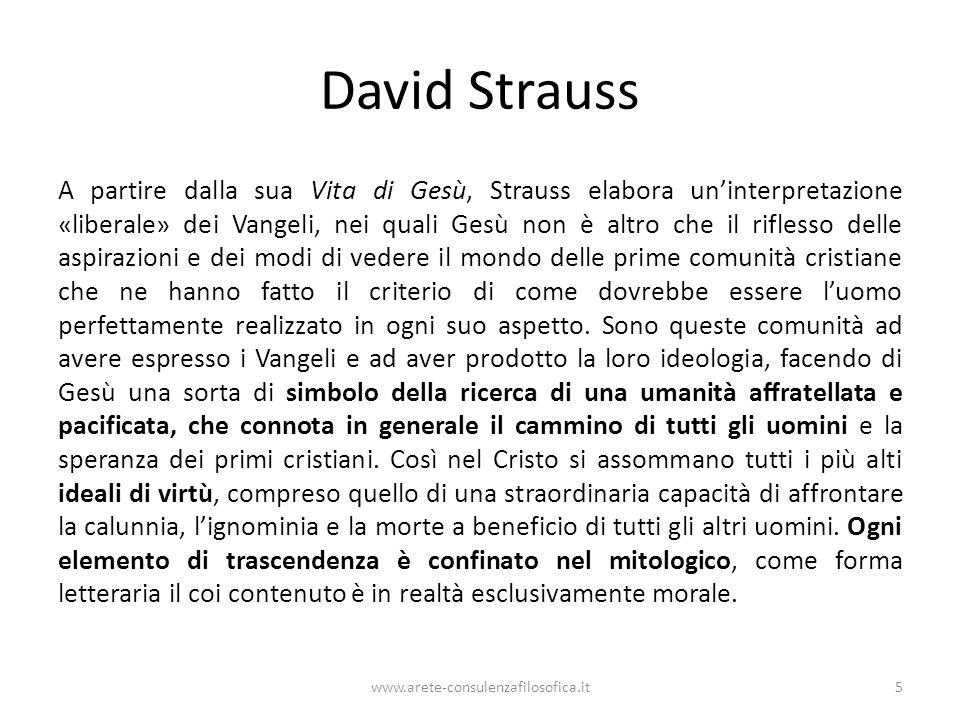 David Strauss A partire dalla sua Vita di Gesù, Strauss elabora un'interpretazione «liberale» dei Vangeli, nei quali Gesù non è altro che il riflesso