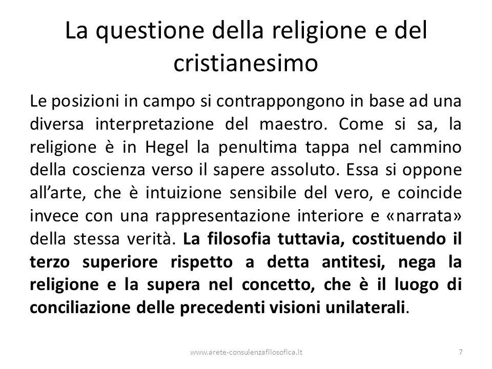 La questione della religione e del cristianesimo Le posizioni in campo si contrappongono in base ad una diversa interpretazione del maestro. Come si s