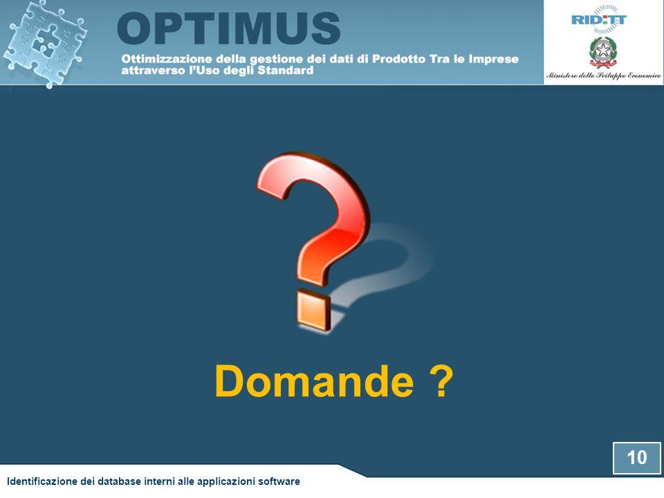 10 Identificazione dei database interni alle applicazioni software Domande ?