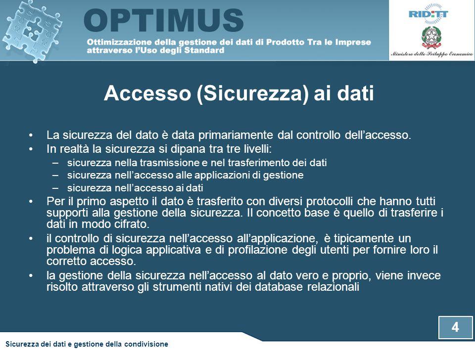 Accesso (Sicurezza) ai dati La sicurezza del dato è data primariamente dal controllo dell'accesso. In realtà la sicurezza si dipana tra tre livelli: –