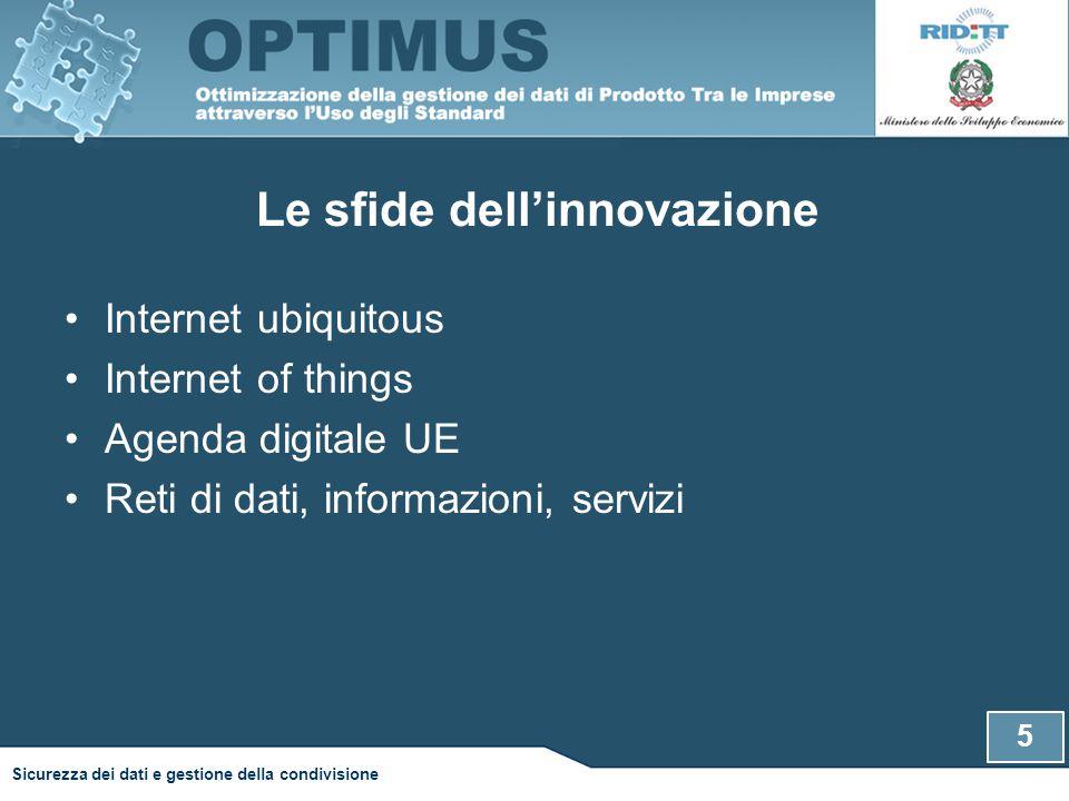 Le sfide dell'innovazione Internet ubiquitous Internet of things Agenda digitale UE Reti di dati, informazioni, servizi 5 Sicurezza dei dati e gestione della condivisione