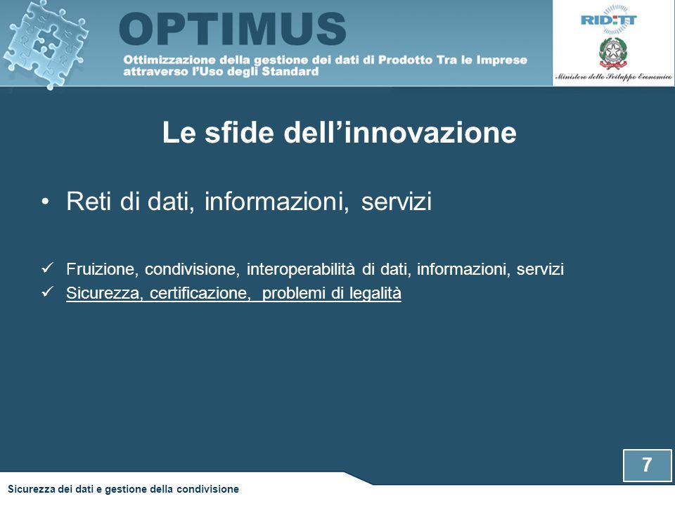 Le sfide dell'innovazione Reti di dati, informazioni, servizi Fruizione, condivisione, interoperabilità di dati, informazioni, servizi Sicurezza, cert