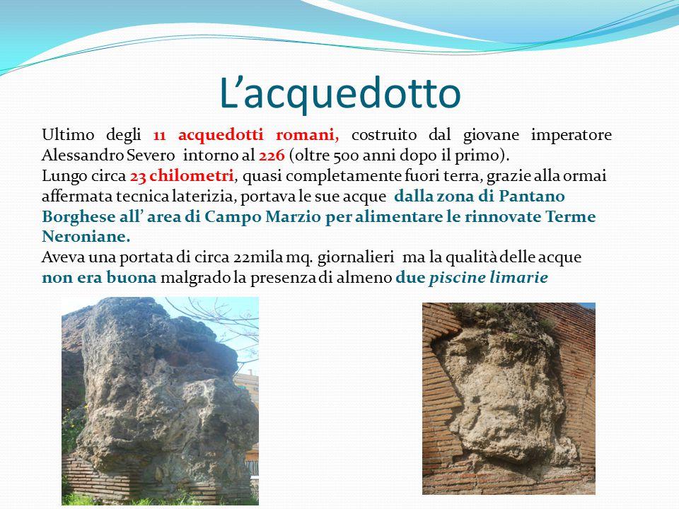 L'acquedotto Ultimo degli 11 acquedotti romani, costruito dal giovane imperatore Alessandro Severo intorno al 226 (oltre 500 anni dopo il primo). Lung