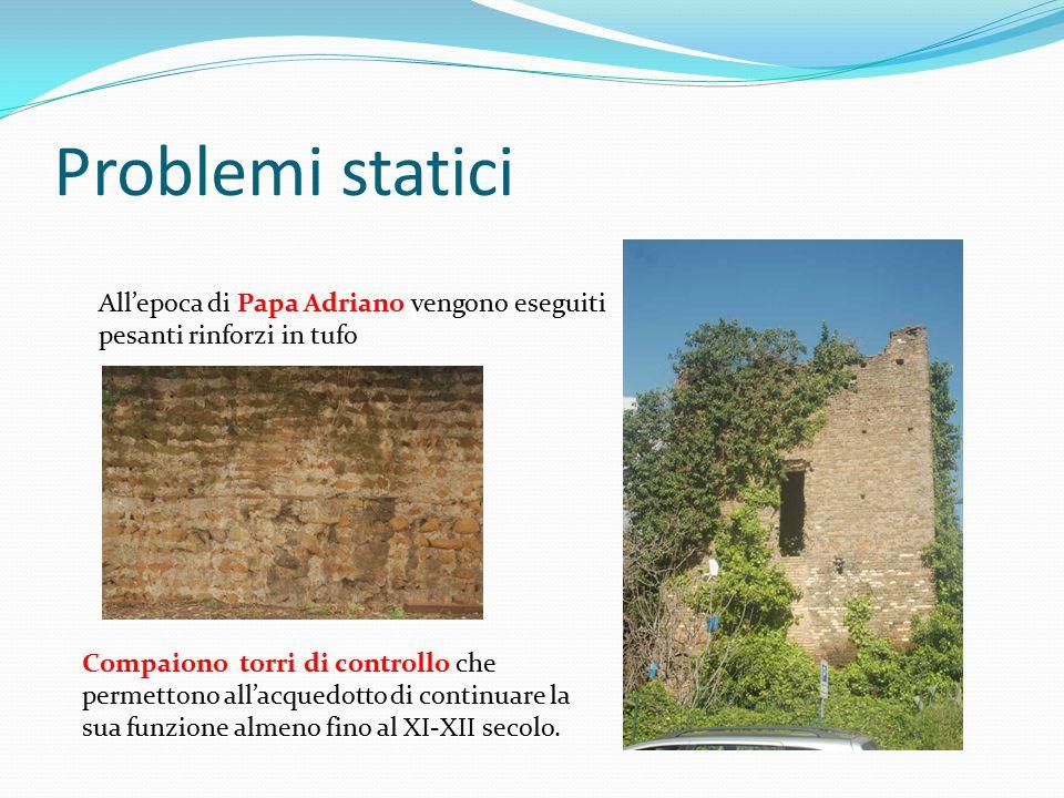 Problemi statici All'epoca di Papa Adriano vengono eseguiti pesanti rinforzi in tufo Compaiono torri di controllo che permettono all'acquedotto di con